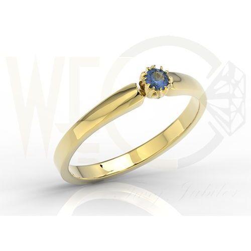 Pierścionek zaręczynowy z żółtego złota z szafirem bp 2110z marki Węc  twój jubiler
