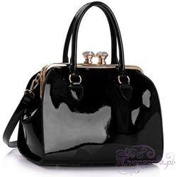 Wielka brytania Lakierowana torebka damska kuferek czarna - czarny