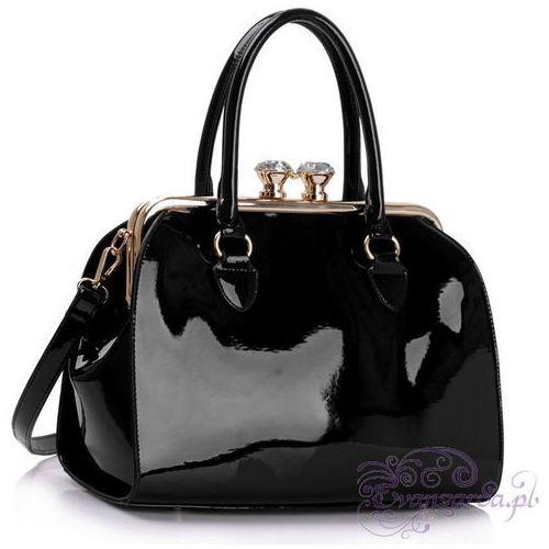 Lakierowana torebka damska kuferek czarna - czarny, kolor czarny