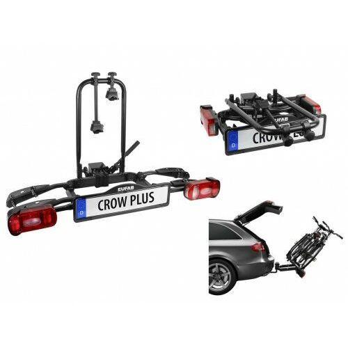 Składany uchylny bagażnik na rowery crow plus rozszerzalny uchwyt na hak marki Eufab