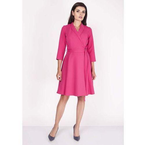 e2dc044519 Różowa Sukienka Rozkloszowana Kopertowa z Paskiem