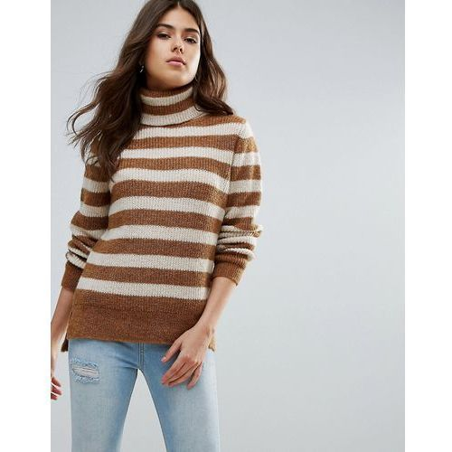 Pieces Hella Striped Rollneck Mohair Wool Blend Knit Jumper - Brown, wełna