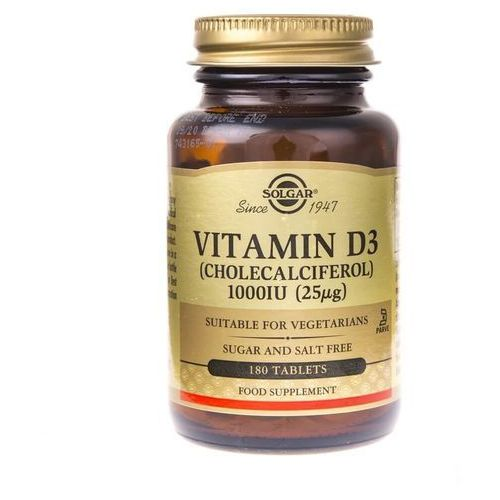 Tabletki Solgar Witamina D3 1000 IU (25 µg) - 180 tabletek