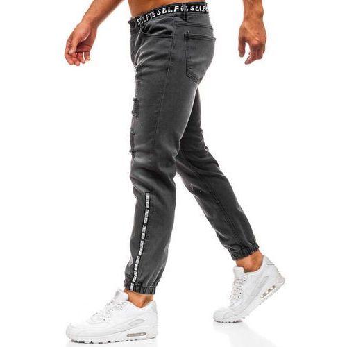 Spodnie jeansowe joggery męskie antracytowe Denley 2042, kolor szary