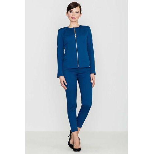 Niebieskie eleganckie spodnie z suwakami, Katrus, 36-42
