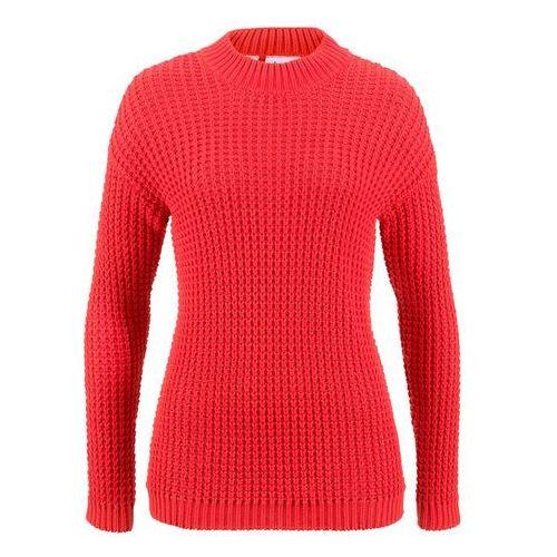 Sweter czerwono-biel wełny w paski marki Bonprix