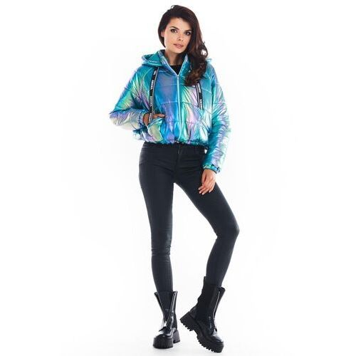 Krótka pikowana kurtka z holograficznego materiału - niebieska marki Awama