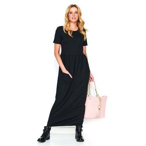 5e0d0142c6 Zobacz ofertę Czarna długa dresowa sukienka z kieszeniami Makadamia