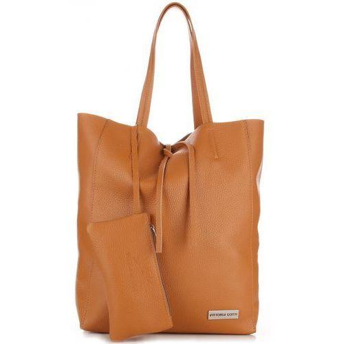 f27b25ee80083 Torebki Skórzane VITTORIA GOTTI Modny Shopperbag z Etui Rudy (kolory)
