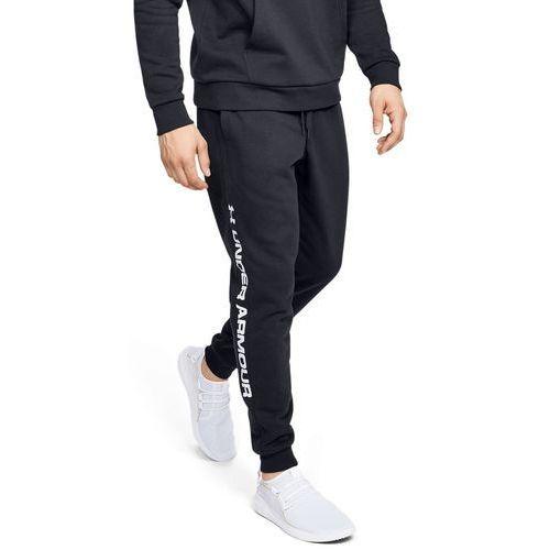 Under armour spodnie dresowe sportowe ua rival fleece wordmark logo jogger czarne