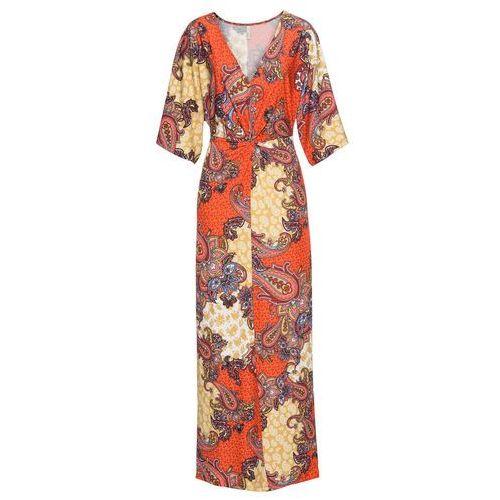 Sukienka z nadrukiem bonprix żółto-pomarańczowy wzorzysty, w 8 rozmiarach