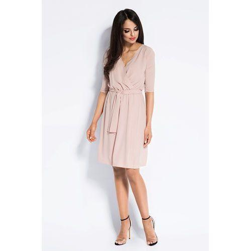 e405445d0 Pudrowa Sukienka Kopertowa z Wiązaniem w Tali, w 5 rozmiarach (Dursi ...