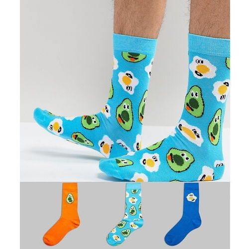 Asos socks with fun brunch design 3 pack - multi