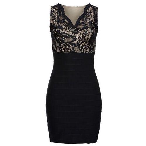 Sukienka z koronkową wstawką bonprix czarny, w 8 rozmiarach