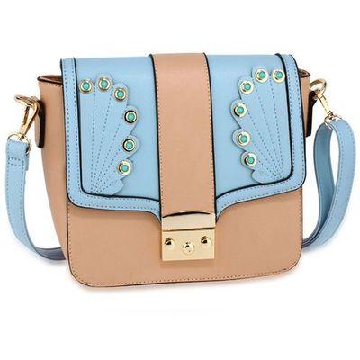ab519fb8b7997 Wielka brytania Ozdobna torebka listonoszka na ramię niebieska z pudrowym  różem - niebieski