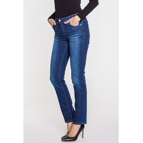 Granatowe, piaskowane spodnie DAISY, kolor niebieski