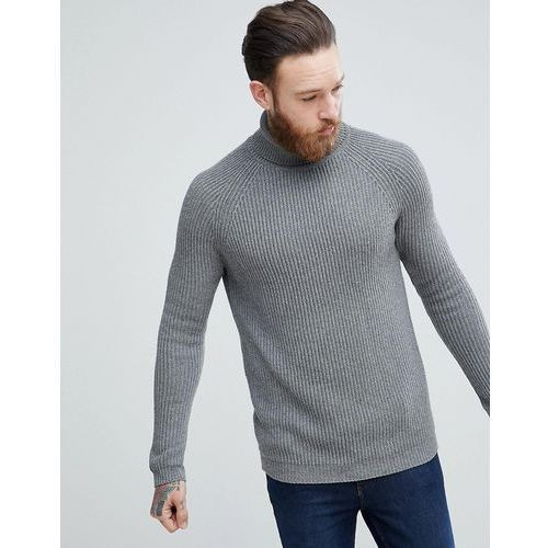 ASOS Ribbed Wool Roll Neck Jumper In Charcoal - Grey