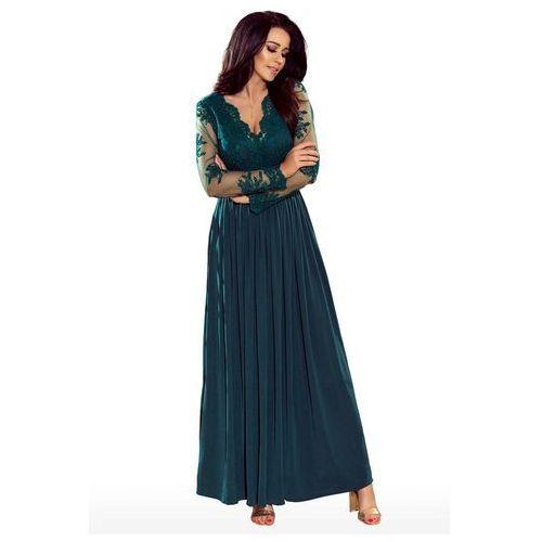 Zielona Wieczorowa Sukienka Maxi z Koronkową Górą, wieczorowa