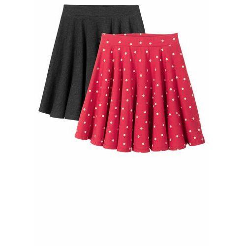 Spódnica dziewczęca (2 szt.) bonprix antracytowy melanż-czerwono-biel wełny