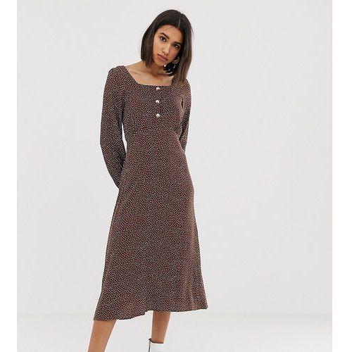 Mango polka dot square neck midi dress in brown - Brown, kolor brązowy
