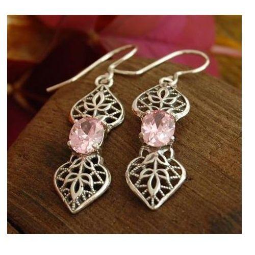 PINK LADY  kolczyki z kryształem Swarovskiego kolor różowy