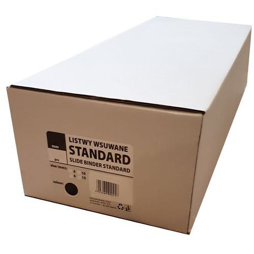 Listwy (grzbiety) wsuwane standard 4mm 50 szt. czarne, 21253