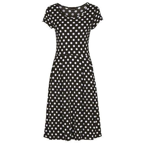 Sukienka shirtowa z dżerseju czarno-biały w kropki Bonprix