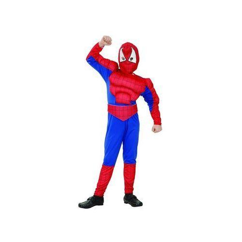 Kostium dziecięcy człowiek pająk - spiderman z mięśniami - l - 131/140 cm marki Godan