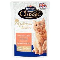 100g classic delicious dinners łosoś i dorada kawałki w sosie karma dla dorosłych kotów marki Butcher's