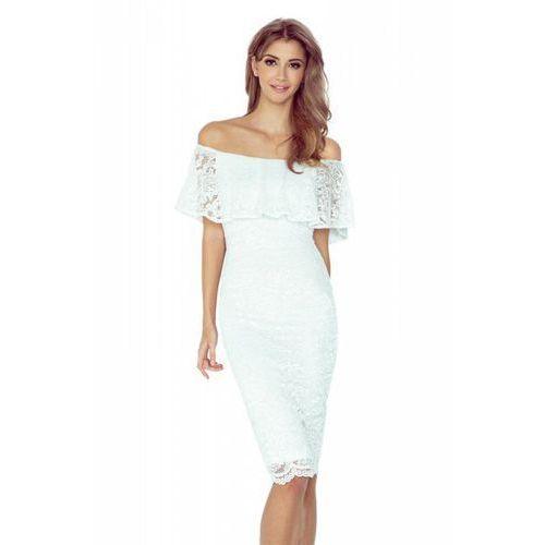MM 013-1 Sukienka koronkowa - hiszpanka - ECRU, kolor beżowy