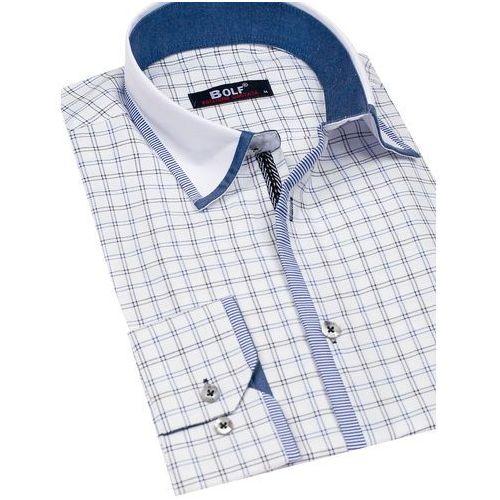 0c375962b2fd98 ... Bolf Koszula męska w kratę z długim rękawem biało-czarna 8812 - Foto Bolf  Koszula ...