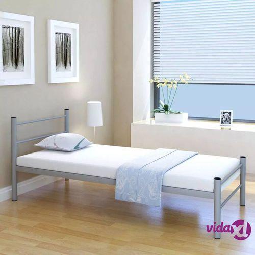 Metalowa Rama łóżka Szara 90 X 200 Cm Vidaxl