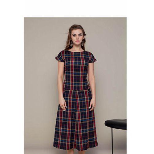 89d00a5cc0 Długa sukienka w kratę GR1282 Sky Blue