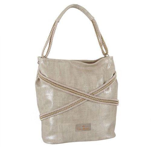 472c0cfce49dd Carla berry Beżowa posrebrzana torebka shopperka ze sznurkami - złoty