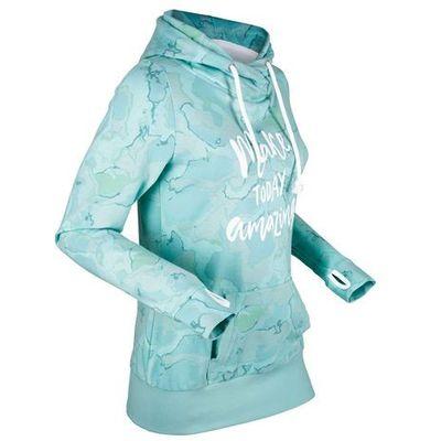 2dffc0027 Lekka bluza z kapturem, długi rękaw bonprix morski pastelowy z nadrukiem, kolor  niebieski bonprix