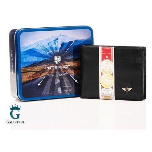 63c8bbc21f409 Kompaktowy portfel męski czarny ze skóry 347 black marki Peterson