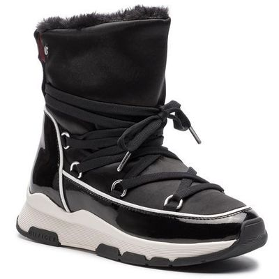 6aff055d5be69 Buty TOMMY HILFIGER - Cool Technical Satin Winter Boot FW0FW03697 Black  990, kolor czarny eobuwie.pl