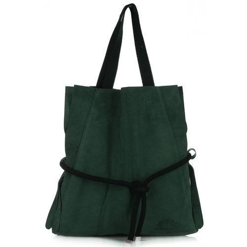 8a19cb6d98db1 Uniwersalna i modna torebka skórzana shopper xl z kosmetyczką butelkowa  zieleń marki Vittoria gotti - galeria