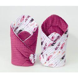 rożek niemowlęcy dwustronny minky piórka burgund / burgund marki Mamo-tato