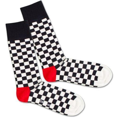 skarpety 'chess and check' czerwony / czarny / biały marki Dillysocks