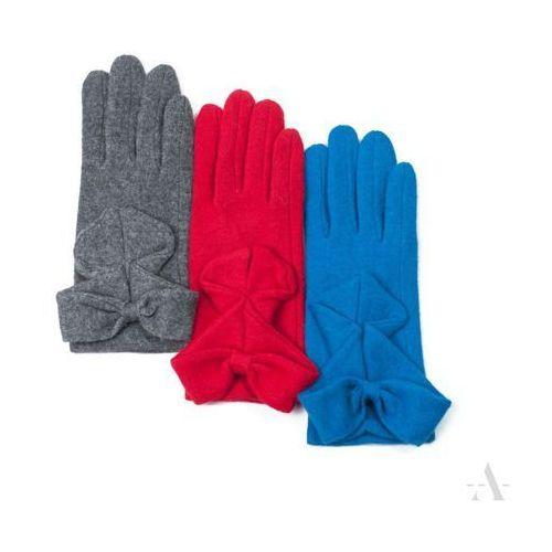 Evangarda Wełniane rękawiczki damskie z kokardą jasny popiel - popielaty