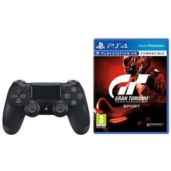 Sony dualshock 4 v2 (czarny) + gran turismo sport