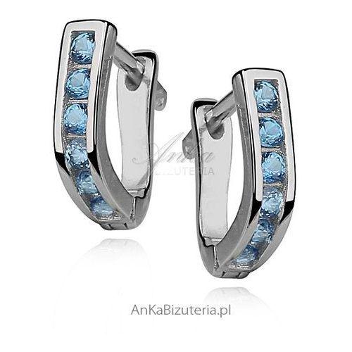 Srebrne kolczyki dla dzieci - niebieska cyrkonia Anka biżuteria