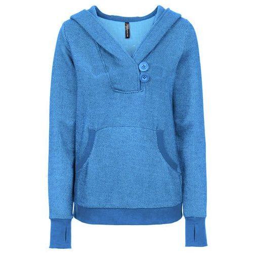 Bluza dresowa bonprix niebieski melanż, kolor niebieski