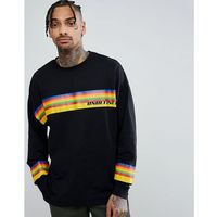 ASOS DESIGN oversized long sleeve t-shirt with rainbow undefined print - Black