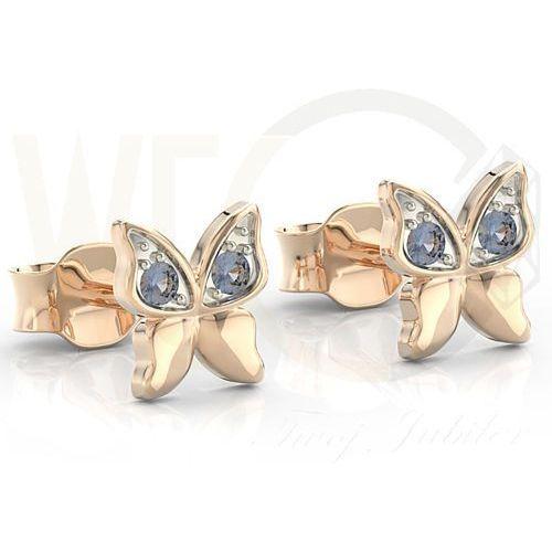 Węc - twój jubiler Kolczyki z różowego złota z niebieskimi cyrkoniami bpk-88p-r-c - różowe z rodowaniem