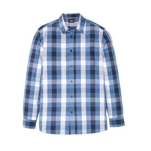 Koszula z długim rękawem w wygodnym fasonie bonprix niebieski dżins w kratę, kolor niebieski