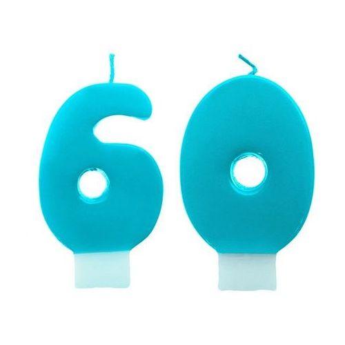 Ap Świeczki cyferki turkusowe - 60 - sześćdziesiątka - 2 szt