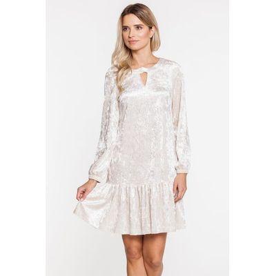 8865f305c3 Biała welurowa sukienka z falbanką - marki L ame de femme Balladine.com