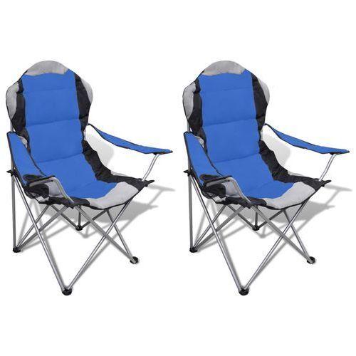 Duży zestaw 2 składanych krzeseł kempingowych z torbą niebieskie Vidaxl